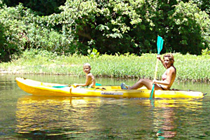 kayak floats on the big river