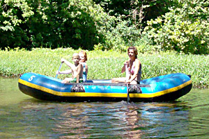 raft floats on the big river