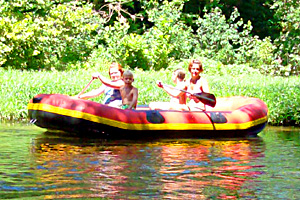 raft floats on the big river in missouri